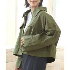 ワイド袖ショートジャケット チノ素材のショート丈ジャケット 3カラー スカートスタイル パンツスタイル サイドスタイル ベージュ カーキ ブラック (カー