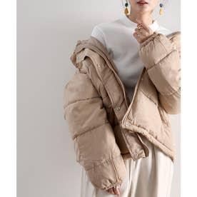 フード付き 軽くて暖かフェイクダウンコート (ベージュ)