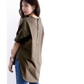 バックヘンリーのゆるTシャツ♪ラウンドヘム&ほんのりパフがキュート ビッグシルエット オーバーサイズ ビッグTシャツ カットソー (ブラウン)