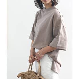 ミドル丈無地クルーネックビッグTシャツ(半袖) (ブラウン)