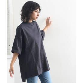 ミドル丈無地クルーネックビッグTシャツ(半袖) (チャコールグレー)