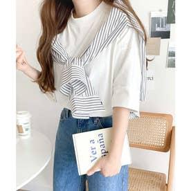 ミドル丈無地クルーネックビッグTシャツ(半袖) (ホワイト)