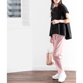 裾切り替えミドル丈無地フレアクルーネックカットソー(半袖) (ブラック)