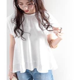 裾切り替えミドル丈無地フレアクルーネックカットソー(半袖) (ホワイト)
