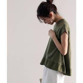 裾切り替えミドル丈無地フレアクルーネックカットソー(半袖) (カーキ)