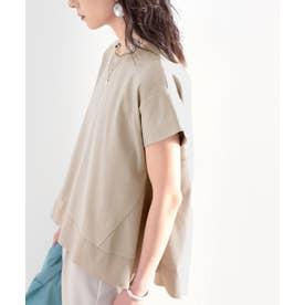 裾切り替えミドル丈無地フレアクルーネックカットソー(半袖) (グレーベージュ)