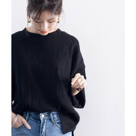 ランダムリブ 吸汗速乾 ミドル丈無地クルーネックビッグTシャツ(半袖) (ブラック)
