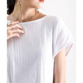 ランダムリブ 吸汗速乾 フレンチミドル丈無地ボートネックTシャツ(半袖) (ホワイト)