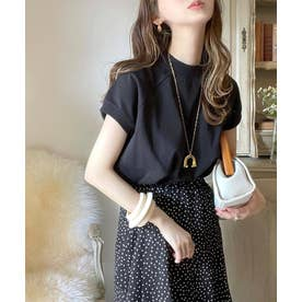 無地ミドル丈クルーネックフレンチラグランTシャツ(半袖) (ブラック)