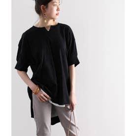 無地ロング丈キーネックビッグシルエットTシャツ(半袖) (ブラック)