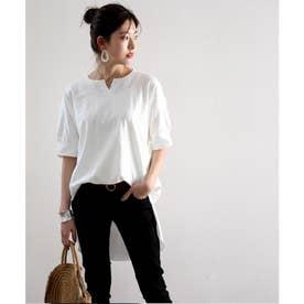 無地ロング丈キーネックビッグシルエットTシャツ(半袖) (ホワイト)