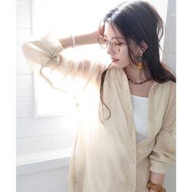 シースルー 無地ミドル丈オーバーサイズシャツ(長袖) (ライトベージュ)