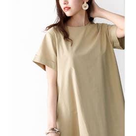 Tシャツマキシワンピース半袖大きいサイズリゾートロングワンピース(ベージュ)