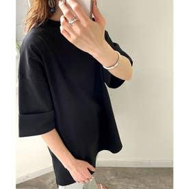 ミドル丈無地クルーネックビッグTシャツ(半袖) (ブラック)