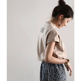 ロゴバックプリント 空紡糸ミドル丈無地モックネックTシャツ(半袖) (ベージュ)