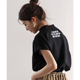 ロゴバックプリント 空紡糸ミドル丈無地モックネックTシャツ(半袖) (ブラック)