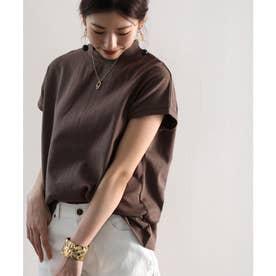 ロゴバックプリント 空紡糸ミドル丈無地モックネックTシャツ(半袖) (ブラウン)