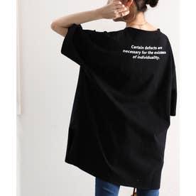 バックプリント空紡糸クルーネック無地ロング丈Tシャツ(半端袖) (ブラック)