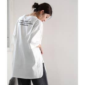 バックプリント空紡糸クルーネック無地ロング丈Tシャツ(半端袖) (ホワイト)