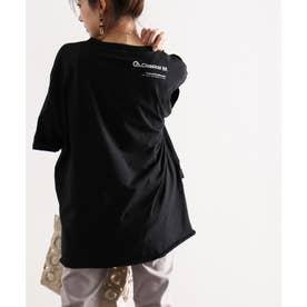 ショルダーロゴバックプリント サイドスリット入り無地クルーネックビッグシルエットTシャツ(半端袖) (ブラック)