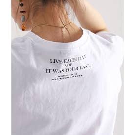 Steve名言ミドル丈バックプリントアシンメトリービッグクルーネック(丸首)Tシャツ(半袖) (ホワイト)