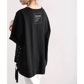 バックプリントロゴ入り クルーネックサイドレースアップ無地ビッグシルエットTシャツ(半端袖) (ブラック)