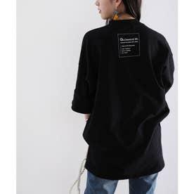 ロング丈バックプリント無地クルーネックTシャツ(半端袖) (ブラック)