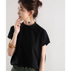 バックプリント フレンチラグラン 無地クルーネックTシャツ(袖なし) (ブラック)