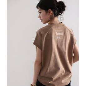 バックプリント フレンチラグラン 無地クルーネックTシャツ(袖なし) (モカ)