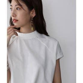 バックプリント フレンチラグラン 無地クルーネックTシャツ(袖なし) (ホワイト)