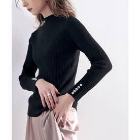 袖シェルボタン付きミドル丈ストレッチハイネックリブニット(長袖) (ブラック)