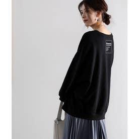 ガゼット付きバックプリントクルーネックスウェットプルオーバー(長袖) (ブラック)