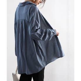 とろみ素材ロング丈レギュラーカラー無地ミドル丈シャツ(長袖) (ブルー)