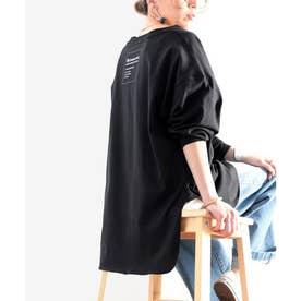 サイドスリット入りバックプリント無地ロング丈カットソー(長袖) (ブラック)