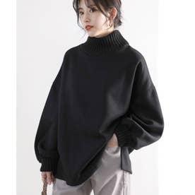 リブニット×裏起毛ビッグシルエットハイネックスウェット(長袖) (ブラック)