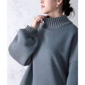 リブニット×裏起毛ビッグシルエットハイネックスウェット(長袖) (ダスティブルー)