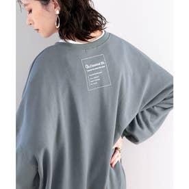 ガゼット付きバックプリントクルーネックスウェットプルオーバー(長袖) (ダスティブルー)