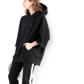 【sustaina+】【family+】ふわり滑らか♪USAコットン&パイル地パーカー (ブラック)