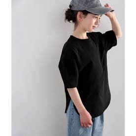 【sustaina+】【family+】【親子コーデ】キッズ 綿100%USAコットン。ゆったりシルエットTee (ブラック)