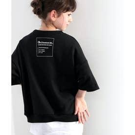 【family+】【親子コーデ】キッズ バックプリントで1+。5分袖スウェットプルオーバー (ブラック)
