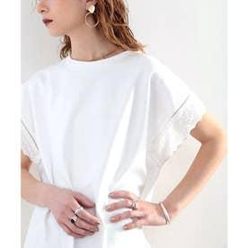綿100% 上質コットン。大人が着る、袖レースプルオーバー (ホワイト)