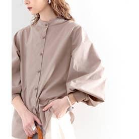 トレンドの1枚!袖Wタックバンドカラーシャツ。 (モカ)