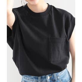 《JaVaジャバ コラボ》綿100%USAコットン。大人カジュアルポケットTシャツ (ブラック)