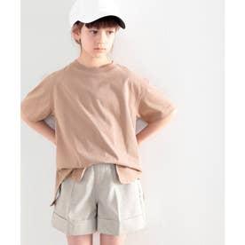 ≪キッズ≫バックプリントがアクセントに!サイドスリットビッグTシャツ (ココア)