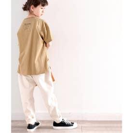 ≪キッズ≫バックプリントがアクセントに!サイドスリットビッグTシャツ (カーキベージュ)