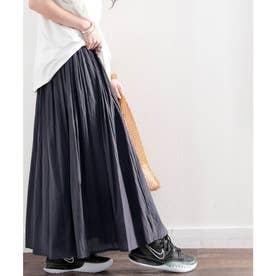 綿100% 風まとう、たっぷりフレアマキシスカート (チャコールグレー)