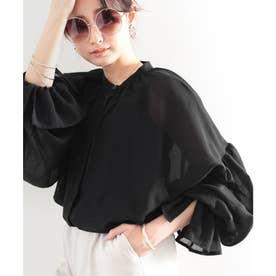 まるでガーゼ。ふんわり袖ボリュームシャツ (ブラック)