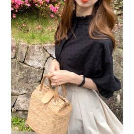 大人が着るのはこれ。2way花柄刺繍ブラウス。 (ブラック)