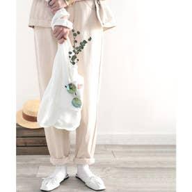 《JaVaジャバ コラボ》ちょっとしたお買い物に♪USAコットン&パイル地エコBAG (ホワイト)