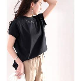 綿100% USAコットン。月グラフィックプリントモックネックTシャツ (ブラック)